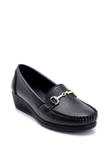 Derimod Kadın Dolgu Topuklu Loafer Siyah
